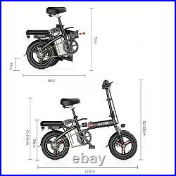 14'' Electric Bike Folding Commuter Bicycle City Ebike 48V Lithium-ion Battery