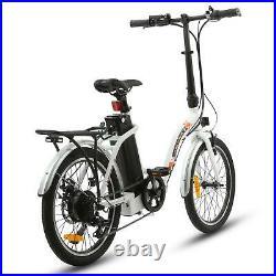 20 36V 350W White Folding Electric Bike Bicycle E City Ebike 7 Speed Litium ION