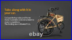 20 6 Speed Folding Electric Bicycle 48V 8AH Snow City E-Bike Removable Battery