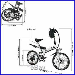 20'' Electric Foldable City Bicycle 36V 350W Motor Lithium Battery E-Bike White