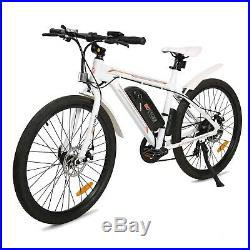 26 350W White Electric Bicycle Bike Beach City Ebike Removable Lithium Battery