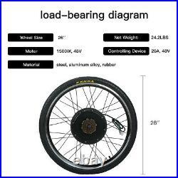 26 48V 1500W Rear Electric Bicycle Motor Wheel Suit E-Bike Conversion Kit