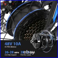 26'' 500W 48V Electric Mountain Bike Bicycle Shimano Black-Blue 21 Speed E-Bike