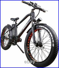 26 500W Electric Bicycle Fat Tire EBike Shimano 6 Speeds Gear 48V12AH Battery