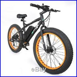 26 500W Orange Fat Tire Electric Bicycle Mountain Snow Beach E Bike 7 Speed
