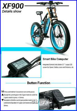 26 Electric Bicycles Mountain E-Bike Fat Tires 48V 13Ah 1000W Motorcycle Style
