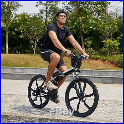 26'' Electric Bike Folding Mountain Bicycle 36V E-Bike E-MTB 21 Speed 250W Black
