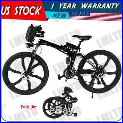 26'' Electric Bike Folding Mountain Bicycle 36V E-Bike E-MTB 21 Speed 250W US