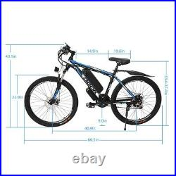 26'' Electric Bike Mountain Bicycle 500W EBike, Shimano 21Speed 36V Li-Battery