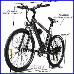 26'' Electric Bike Mountain Bicycle Adult City EBike With Removeable Li-Battery