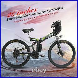 26 Electric Folding Bicycle City Mountain Bike Cycling EBike 21 Speed Green