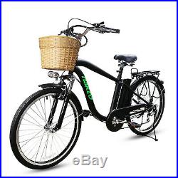 26City Electric Bicycle with Basket Adult Electric Bike Removable Battery EBike