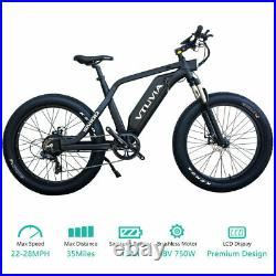 26Fat Tire Electric Hunting Beach Snow Mountain Bicycle EBike 48V750W13AH Black