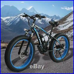 26inch Fat Tire Lithium Battery Electric Bike Beach Snow Bicycle E-Bike (Blue)