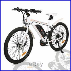 36V 350W White Electric City Bicycle e-Bike Removable Battery 7 Speed Litium ION