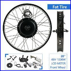 48V 1000W 20 Fat Tire with LCD Electric Bicycle E-bike Kit Conversion Front Wheel