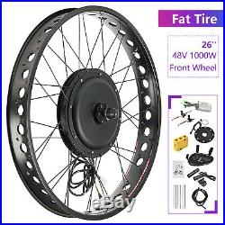 48V 1000W 26 Fat Tire Front Wheel Electric Bicycle E-bike Kit Conversion Motor