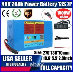 48V 20AH Li-ion Battery 1000W EBike E Bike Scooter Electric Bicycle Charger BMS
