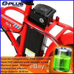 48V 500W 13AH LED Display EBike 20 Folding Fat Tire Electric Bicycle Red