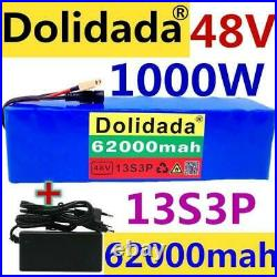 48v 62Ah Ebike Battery 1000w Electric Bicycle Scooter 13s3p Lithium-Ion Charger