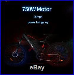 AOSTIRMOTOR Electric Mountain Bike Bicycle 26'' 4.0 48V Battery 750W E-Bike