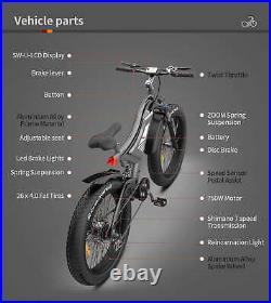 AOSTIRMOTOR S18 Electric Bike 750W 48V/15Ah Samsung Battery 26 Fat Tire Ebike
