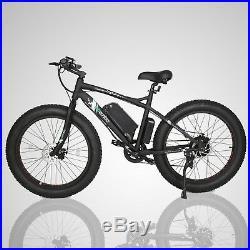 Black Electric Fat Tire Bike Beach Snow Bicycle City E-bike 36V 500W Moped LCD