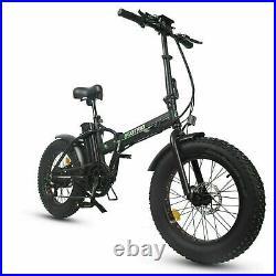 Black Folding Electric Fat Tire Bike Beach Bicycle City Ebike 20 48V 500W