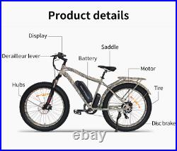 Camo Mountain Electric Fat Tire Bicycle 750W 48V 13Ah Lithium Ion Battery Ebike