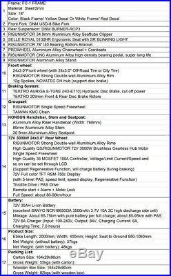 EU DUTY FREE 72V 5000W FC-1 Electric Bicycle Mountain EBike 72V 35Ah Battery