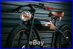 Electric Bicycle Street Cruiser Black Retro Greaser E-Bike 70s Art Replica NEW