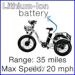 Electric Fat Tire Tricycle/Trike, 500W 48V Hybrid Bicycle/E-Bike with Lithium