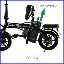 Electric Folding Bike Bicycle 14'' 350W Motor EBike City 48V 14Ah Li-ion Battery