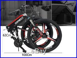 Electric Folding Mountain Bike for Adult, 26 Inch, 48V10AH Ebike Foldable, Black
