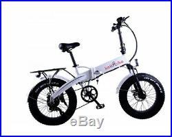 Electric Folding eBike 48V 10Ah 500W PAS & Throttle 20 Fat / Snow Tyre White