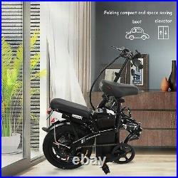 Folding 14 48V 12.5AH 500W Electric FatTire City E Bike Beach Bicycle Ebike LCD