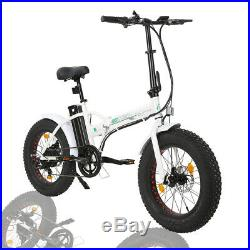 Folding 20500W 36V12Ah Fat Tire Electric Bicycle Beach Snow City eBike White