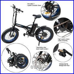 Folding Electric Bicycle Beach Snow City eBike 7 Spe 20500W 36V 13Ah Fat Tire