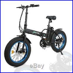 Folding Electric Fat Tire Bike Beach Bicycle City Ebike 20 36V 500W Black/Blue
