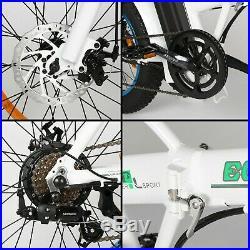 Folding Electric Fat Tire Bike Beach Bicycle City Ebike 20 36V 500W White NEW