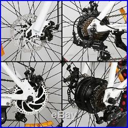 Folding Electric Fat Tire Bike Beach Bicycle City Ebike 20 36V 500W White Pedal
