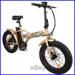 Folding Electric Fat Tire Bike Beach Bicycle City Ebike 20 48V 13AH 500W Gold