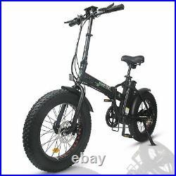 Folding Electric Fat Tire Bike Beach Bicycle City Ebike 20 48V12.5AH 500W Black
