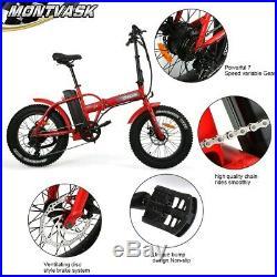 Folding Red Electric Fat Tire Bike Beach Bicycle City Ebike 20 48V 13AH 500W