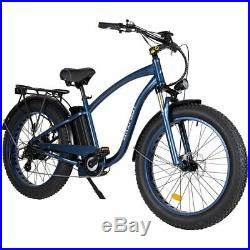 MaxFoot MF-18 P Electric Bicycle Bike 750W 26 Fat Tire Beach Cruiser eBike Blue