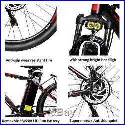 Mountain E-Bike 500W 48V 20Ah Power 130km Endurance Electric Bicycle LED Light