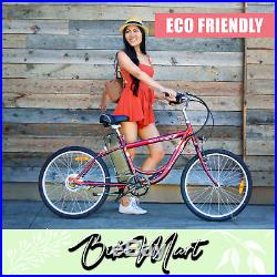 NEW Cruiser Electric-Bicycle Battery Powered E-Bike Eco-Ride 24''Tire 250 W Red