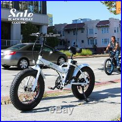 New 20 Folding White 36V 500W 20Mph/H 7 Speed Electric Bicycle E-Bike Fat Tire