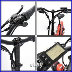Red Folding Electric Fat Tire Bike Beach Bicycle City Ebike 20 48V 500W 13AH