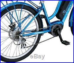 Schwinn 26 Constance 250 Watt 7-Speed Aluminum Frame Cruiser E-Bike Blue